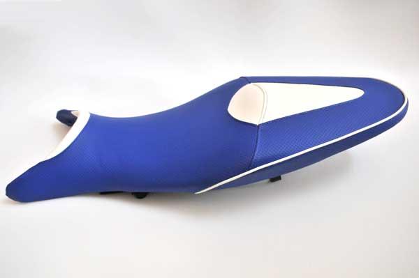 SUZUKI GRADIUS400 スズキ  グラディウス400 アンコ抜き 青ディンプル・白  バイクシート張替え シート加工 seat